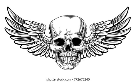 Winged skull grim reaper drawing in a vintage retro woodcut etched or engraved style
