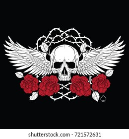 Winged skull and roses, isolated on black, vector illustration