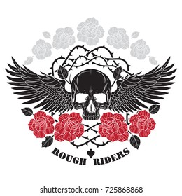 Winged skull, roses and spiny stems, isolated on white, vector illustration
