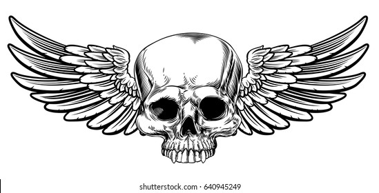 Winged skull vintage woodcut etched or engraved style drawing
