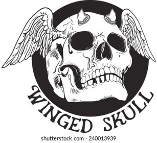 winged skull.vector.