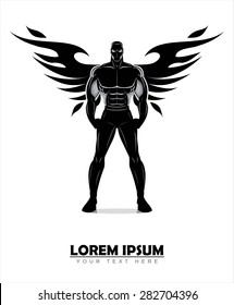 winged standing man. winged human silhouette. Design for Gym. Bodybuilder silhouette.Sportsman silhouette character. Sport Fitness club creative concept.Power strength man icon.Fighter. Fighting Club