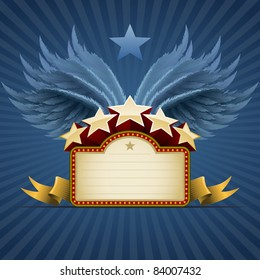 Winged star banner on blue. All elements are layered separately in vector file. Easy editable.