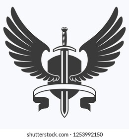 The winged sword with shield and ribbon vector icon.