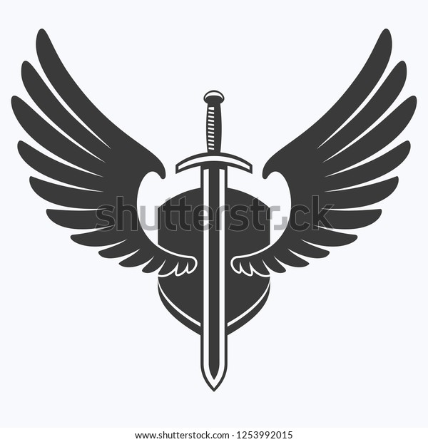 Black And White Vector Illustration Of A Winged Sword With Elegant..  Royalty Free Cliparts, Vectors, And Stock Illustration. Image 25727547.