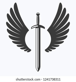 The winged sword silhouette vector icon.