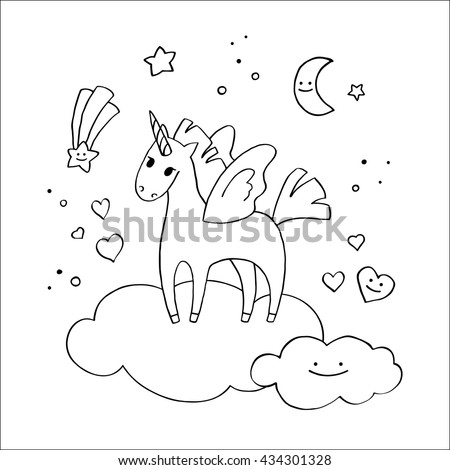 Winged Unicorn In The Clouds Hand Drawn Style Coloring Pages For Kids