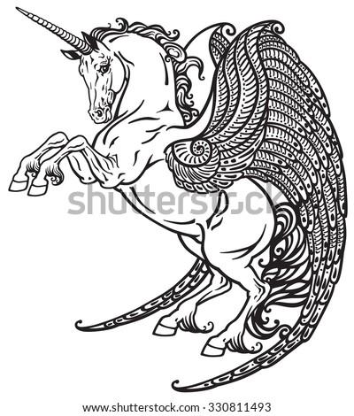 Winged Unicorn Mythological Horse Black White Stock Vector Royalty