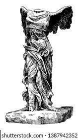 Winged Victory of Samothrace is a marble sculpture, vintage line drawing or engraving illustration.