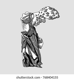 Winged Victory Of Samothrace. Vector illustration hand drawn