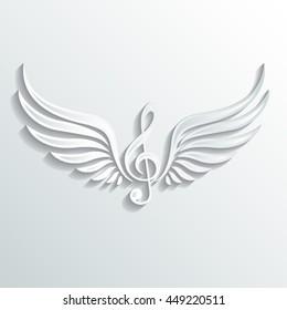 winged violin clef / music symbol /vector illustration
