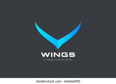 Wings abstract Fashion Logo design vector template. Luxury style Logotype concept icon.