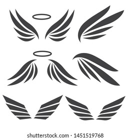 Wings abstract set. Angel wings vector collection