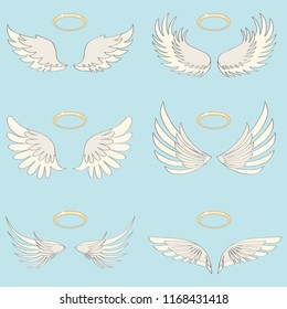 Wings of an angel with a halo, realistic white wings of an angel on a light background. Flat design, vector illustration, vector.