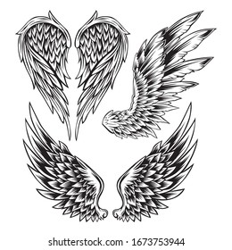 Wings Bird feather Black & White Tattoo Vector Set 10