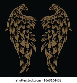 Wings Bird Vintage Gold on black background  Vector Illustrator 7