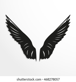 Wings of birds. Vector illustration. Black and white view.