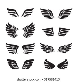 Wings black icons vector set (silhouettes). Modern minimalistic design.