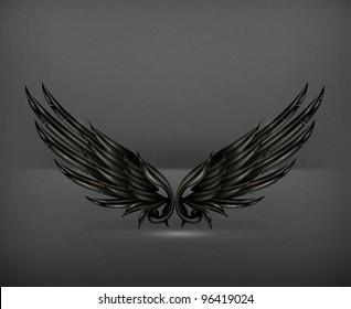 Wings black, vector