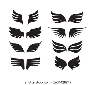 wings collection. aircraft military symbols birds stylized wings vector minimalistic design fly silhouettes of feathers