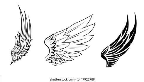 wings collection illustration, set icon wing vector, design for tattoo, black and white wings vector, group of wings line vector.
