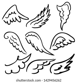 Wings collection. Vector illustration set with angel wing icon isolated on white background