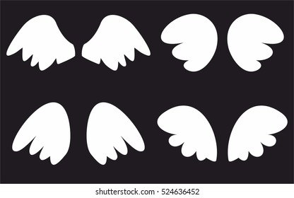 Wings collection. Vector illustration set with white angel or bird wing icon isolated on black background