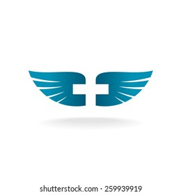 Wings with cross shape at the negative space logo template