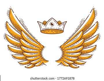 Wings and crown vintage linear design elements isolated easy to use, angel raven eagle or falcon, vector logo or icon or emblem trendy style.