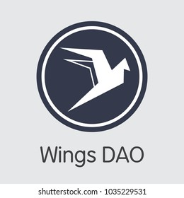 Wings Dao - Colored Logo of Fintech Industry, Finance Digitization. Modern Sign Icon. Premium Quality Trading Sign of WINGS. Simple Vector Colored Logo of Design for Web Graphics.