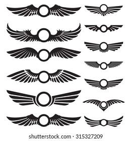 Wings decorative insignia labels set