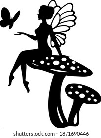 wings doll. cartoon character for children's room decoration. a girl sitting on toadstools. fairy on mushrooms and with a butterfly