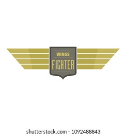 Wings fighter icon logo. Flat illustration of wings fighter vector icon logo for web design isolated on white background