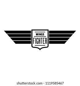 Wings fighter logo. Simple illustration of wings fighter vector logo for web design isolated on white background