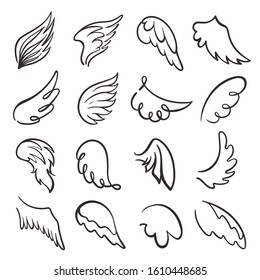 Wings, flight items vector linear icons set. Bird feathers monochrome signs pack. Creative tattoos, vintage emblems, retro heraldic insignia collection isolated on white background