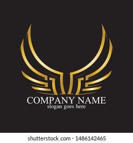 wings gold logo vector illustration template