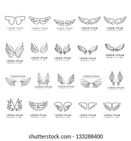 Wings - Hand Drawn - Set - Isolated On White Background - Vector Illustration, Graphic Design Editable For Your Design. Wings Logo