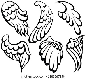 Wings icon. Cartoon collection of wings