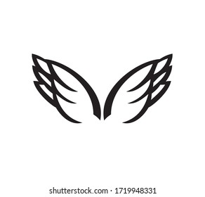 Wings Icon Logo Design Vector Template. Bird wings logo template for design elements.