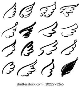 Wings icon sketch collection cartoon  hand drawn vector illustration sketch