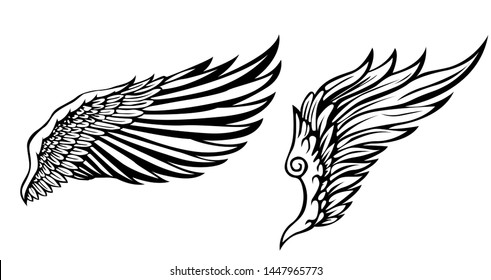 wings icon vector illustration, black and white wings design, design for tattoo, vector wings black and white.