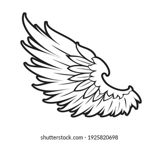 wings icon vector illustration, wings design, design for tattoo, vector wings black and white