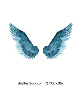 wings icon watercolor style vector illustration