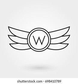 Wings icon. Winged logo and emblem collection. Company, army or aviation wing badge template. Vector illustration.
