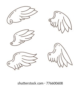 Wings icons, hand drawn outline illustrations, vector set