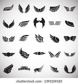 Wings icons set on white background for graphic and web design. Simple vector sign. Internet concept symbol for website button or mobile app