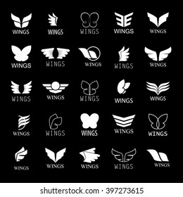 Wings Icons Set-Isolated On Black Background-Vector Illustration,Graphic Design.For Web, Websites, App, Print, Presentation Templates, Mobile Applications And Promotional Materials.Different Old Shape