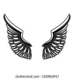 Wings illustration isolated on white background. Design element for logo, label, sign, poster. Vector image