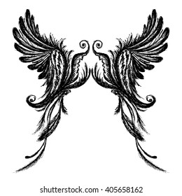 Wings isolated on white background,hand drawing, vector illustration.