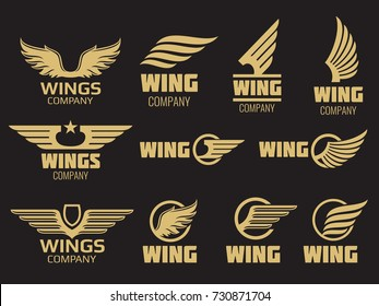 Wings logo collection. Golden auto wings icon templates, vector illustrations.